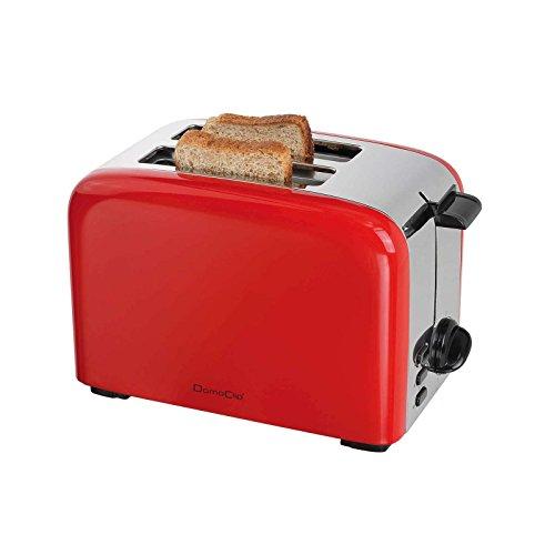 Toaster mit Krümelschublade Rot 5 Stufen Thermostat (Retro, 850 Watt, 2 Toastschlitze, Auftaufunktion)
