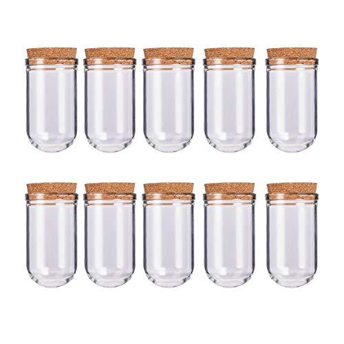 BENECREAT Glass Favor Glazen flessen met kurk voor kunsthandwerk, goedkoop, kleine projecten en decoraties Glasflaschen mit rundem Boden Glazen flessen met ronde bodem - 15 ml