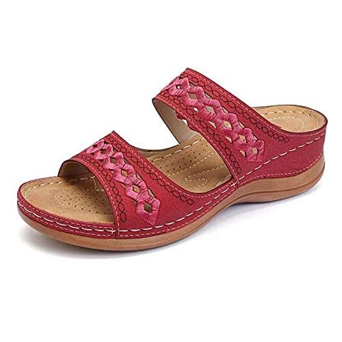 ypyrhh Zapatillas de Estar por Casa Ultraligera,Sandalias de Mujer Casual,Zapatillas Suaves Ligeras y cómodas-Rojo_36,Lino Zapatillas Interior Sandalias