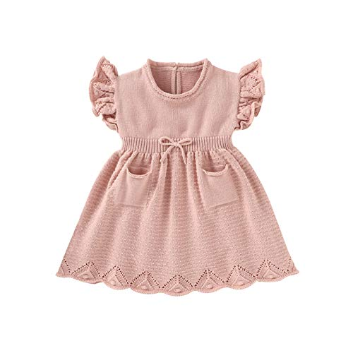 Borlai 6-30 Monate Neugeborenes Baby Mädchen Strickkleid Rüschen Ärmel Swing Kleid Süßes Sommerkleid Gr. 6-12 Monate, rose