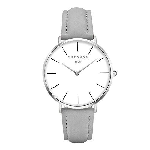 Unisex Uhren Groß Runde Quarzwerk Damenuhren Herrenuhren für Damen und Herren Leder Metall Klassisches, Grau-Silber