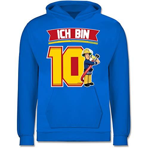 Feuerwehrmann Sam Mädchen - Ich Bin 10 - Sam - 104 (3/4 Jahre) - Himmelblau - Geschenk - JH001K JH001J Just Hoods Kids Hoodie - Kinder Hoodie