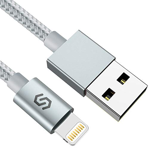 Syncwire Cable Lightning Cable Cargador iPhone 2M - [Certificado Apple MFi] Nylon Trenzado Especial Cable iPhone Carga Rápida para iPhone 11 Pro XS MAX XR X 8 7 6S 6 Plus 5S 5C 5 SE iPad iPod, Plata