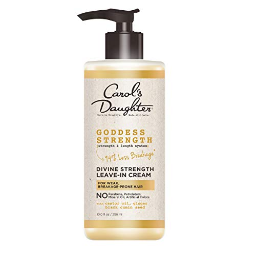 Carol's Daughter Goddess Strength Divine Strength Leave In Conditioner with Castor Oil, Black Seed Oil and Ginger, for Weak, Breakage Prone Hair, Paraben Free, 10 fl oz