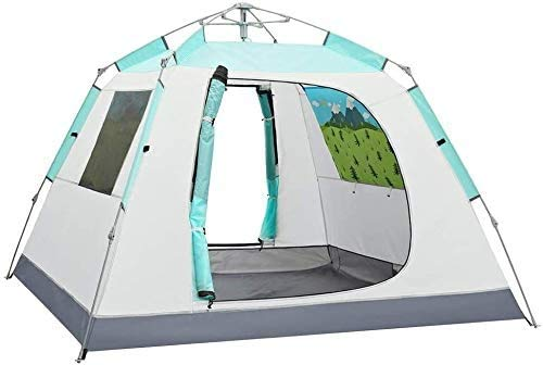 SAIYI Tarpaulin Camping Tents,3-4 people sunscreen sunscreen four sides breathable thickening full automatic speed open field camping equipment tent hsvbkwm (Color : Blue)