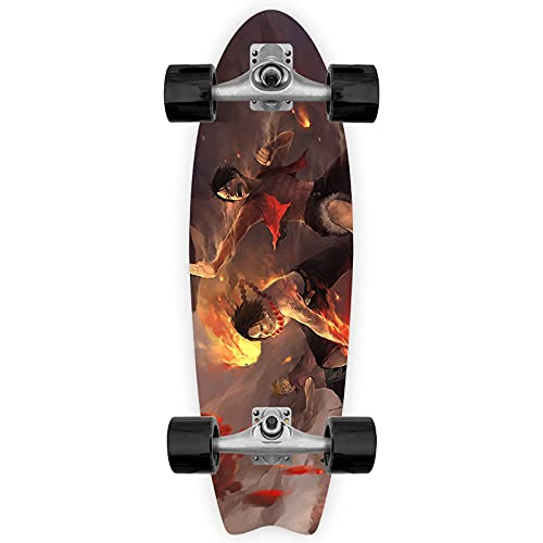 Cnlololog Monopatín de inclinación única Portgas · D · Ace Monkey D. Luffy Brothers Meet Tail Fish Skateboard ONE PIECE Tabla de peces de anime Tabla de surf de tierra Patineta de inclinación única Ta