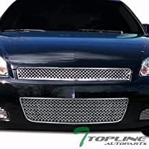 Topline Autopart Chrome Mesh Front Upper Hood Grill + Lower Bumper Grille ABS For 06-13 Chevy Impala / 14-16 Impala Limited