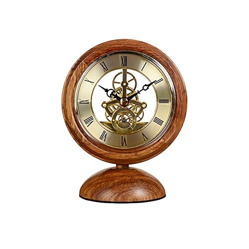SSMDYLYM Han Reloj Mesa Rosa Pera Decoración Madera Sólida Pequeña Mesa Reloj Estilo Chino Hogar Reloj Sala Pequeño Reloj Mesa