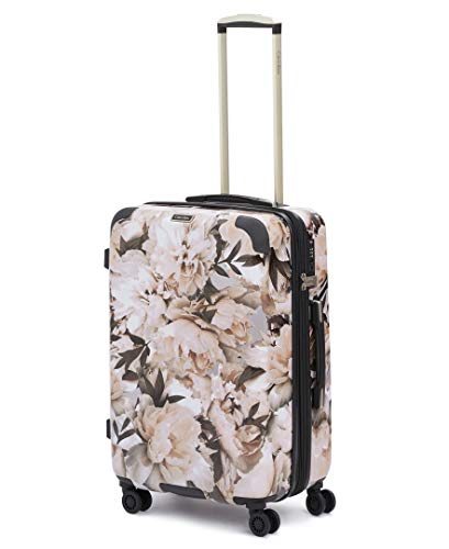 Calvin Klein Studio Terrace Hardside Spinner Luggage with TSA Lock, Floral/White, 24 Inch