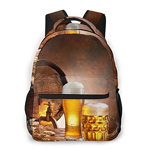 SXCVD Zaino casual,Barile di legno Liquore Retro Boccale di birra Traboccante G,Zaino per laptop da lavoro,Zaino da viaggio per escursionismo per uomo,donna,adolescente