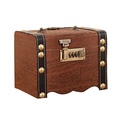 ZAKRLYB Hucha para niños con cerradura Caja de contraseñas de madera maciza natural, gran capacidad, anti-caída, caja de seguridad para el hogar adulta, regalo de cumpleaños para niñas, niños adecuado