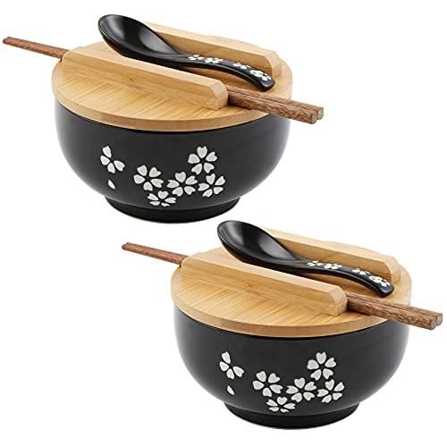 Sayopin 2X Japanische Vintage Ramenschüssel mit Deckel Löffel, Schwarze Ramen Schale aus Keramik Handgezeichnete Reis Schüssel Instant Nudel Schüssel 6.5 Zoll
