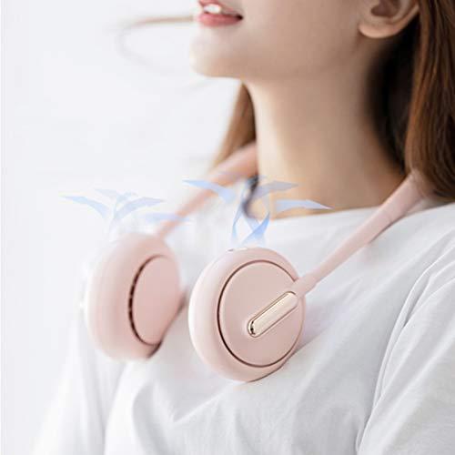 GYAM Ventilador de Cuello Mini 4800 mAh Ventiladores de refrigeración portátiles con USB Recargable para Cocina Interior al Aire Libre Correr Montañismo Viajes,Rosado
