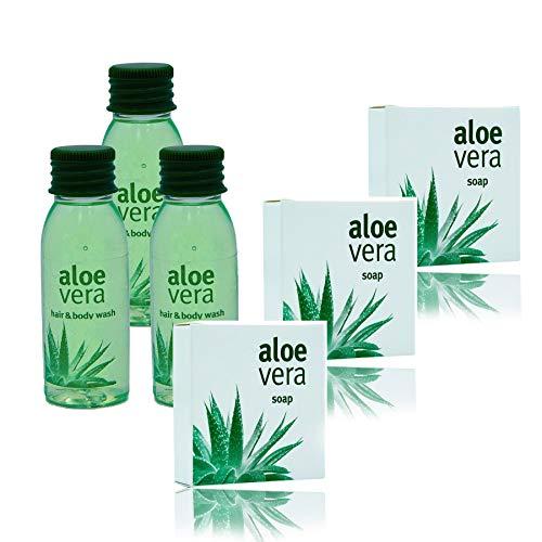 Awek.eu - Hotel Set Aloe Vera Shampoo&Duschgel 30ml 100 Stk. und Seife 15g 100 Stk. - Grün