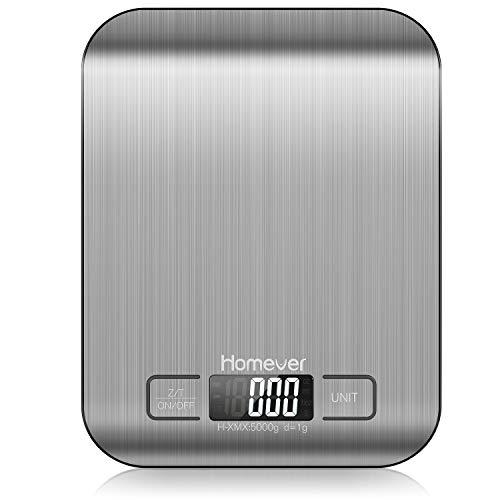 Homever Digitale Küchenwaage, Präzision auf bis zu +/- 1g Küchenwaage Digital Klein, 5kg Maximalgewicht, Tare-Funktion küchenwaage mit LCD Display, Auto-Off, Edelstahl