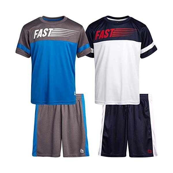 RBX Boys' Active Shorts Set – 4 Piece Performance T-Shirt and Shorts Kids Clothing Set