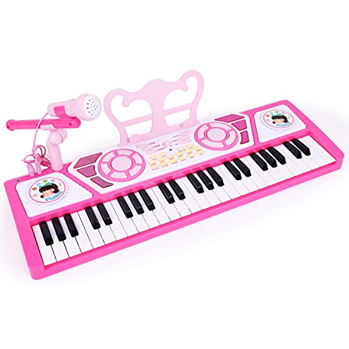 M SANMERSEN Piano with Microphone, Piano Keyboard for Kids Music Pianos 49 Keys with 8 Drums/ 8 Instrument Sound/ Earphone/ MP3 Function/ Guide Mode Electronic Keyboards Toys for Beginners Girls Boys