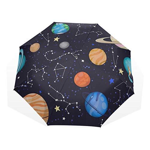 Sun Umbrellas For Women Amazing Solar System Space 3 Fold Art Umbrellas(outside Printing) Best Umbrella Compact Travel Umbrella Compact Lighted Sun Umbrella