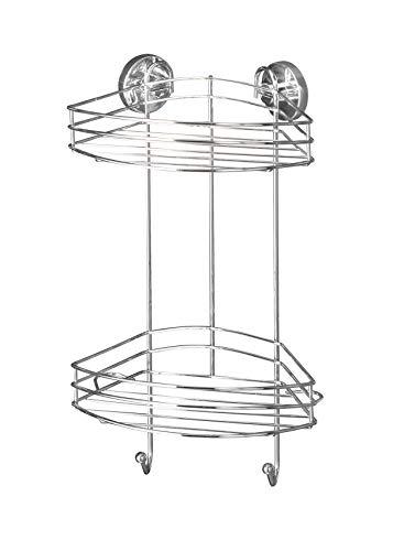 WENKO Vacuum-Loc Eckregal 2 Etagen, Wandablage ohne bohren, Duschablage mit 2 Haken, Regal für Badezimmer und Küche, verchromtes Metall, 23 x 43 x 21 cm