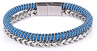 Canvas and Silver Stainless Steel 316L Bracelet for Men…