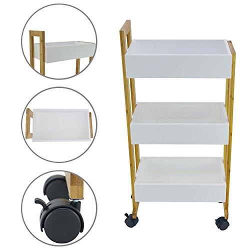 shelfmade Rauma Handwagen Küchenwagen Badregal Küchenregal mit 3 Ablagekörben und leichtgängigen Rollen, aus Bambus