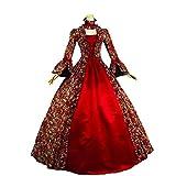 Women's Victorian Rococo Dress Inspiration Maiden Costume 18th Century Dress (XL:Height65-67 Chest42-43 Waist33.5-35', Red)