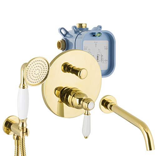 PaulGurkes Armaturen Gold Set für Badewannen Unterputz Wanneneinlauf Nostalgie