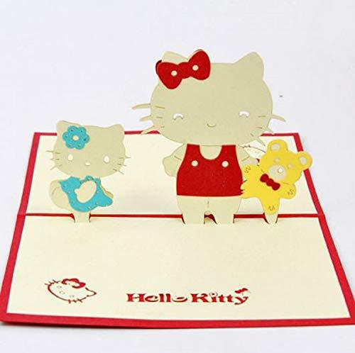 BC Worldwide Ltd handgefertigte 3D-Pop-Up-Geburtstagskarte Sanrio Hello Kitty, Hochzeitskarte, Valentines-Karte, Muttertagskarte