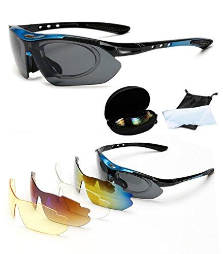 Wondder Gafas de Ciclismo 5 Lente de la Bicicleta Ciclismo Gafas de Sol Deportes al Aire Libre Gafas de Montar Bicicleta Ciclismo Gafas UV400 con Miopía Anillo Interior para Hombres Mujeres (Azul)