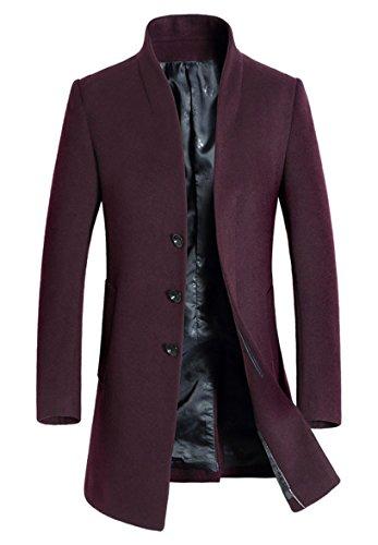 PASOK Men's Wool Trench Coat Slim Overcoat Business Down Jacket Winter Topcoat Thin Style Red Wine M