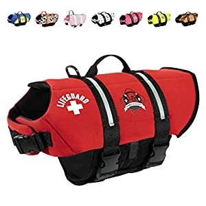 Paws Aboard Dog Life Jacket, Neoprene Dog Life Vest for Swimming and Boating – Red