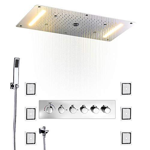 Sistema De Ducha Termostática Incrustar En El Techo Techo De Lluvia Masaje En Spray Led Energía Eléctrica Baño 5 Vías Ocultar Ocultar Instalar