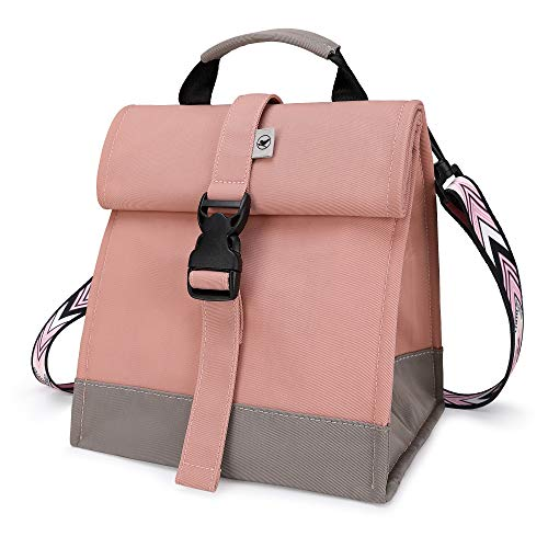 Sunny Bird Insulated Lunch Bag Pink Lunch Box Small Cooler Bag for Women Girls Adults and Teens Pink with pink shoulder strap