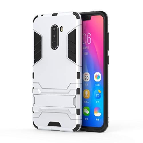 Liju. nguo Custodia Antiurto for PC + TPU for Xiaomi Pocophone F1, con Supporto (Nero) (Colore : Silver)