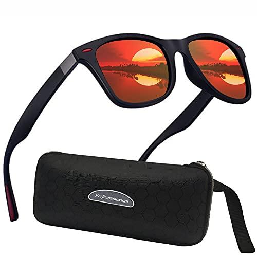 Perfectmiaoxuan Gafas de sol polarizadas Hombre Mujere Retro/Aire libre Deportes Golf Ciclismo Pesca Senderismo 100% protección UVA gafas unisex golf conducción Gafas gafas de sol (Orange red lens)