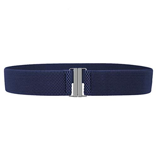 KYEYGWO Damen Elastischer Gürtel mit Flach Schnalle, 4 cm Breit Stretch Gürtel Taillengürtel für Kleid Jeans Hosen, Dunkelblau/Schwarz Schnalle