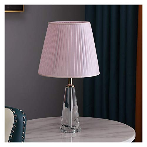 Lámpara de mesa de noche Lámpara de mesa moderna 18.1 pulgadas de altura, 10.2 pulgadas de diámetro con acabado de cristal transparente Lámpara de escritorio con pantalla plisada de color (Color: Azul