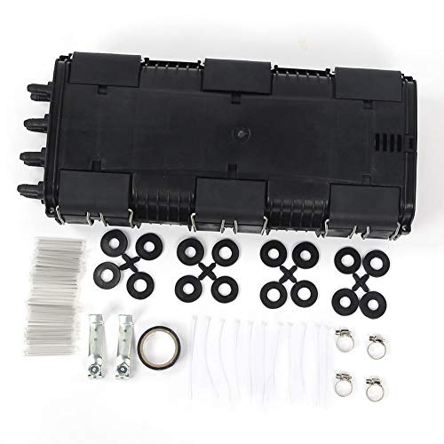 Caja de empalme de fibra óptica, caja de conexión de cable de fibra horizontal de 2 en 2 salidas, resistente al agua IP68, accesorios incluidos, negro(48 Core)