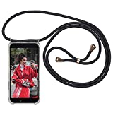 Necklace Phone Holder Compatible with iPhone Xs/iPhone X Black - Expatrié LOLA Lanyard Phone Case with Cord Strap, Transparent Silicon Cover - Stylish Cross Body Necklace Cord Cover
