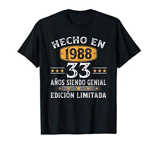 33 Años Cumpleaños Regalo Para Hombre Mujer Hecho En 1988 Camiseta