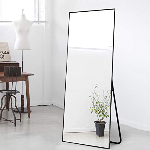 NeuType Full Length Mirror Floor Mirror with Standing Holder Bedroom/Locker Room Standing/Hanging Mirror Dressing Mirror Wall-Mounted Mirror (Black)