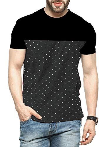 Leotude Men's Cotton Printed T-Shirt Half Sleeve Black Maroon Colour