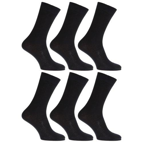Chaussettes anti-bactériennes très douces avec dessus non-élastique - Homme (6 paires) (EUR 39-45) (Noir)