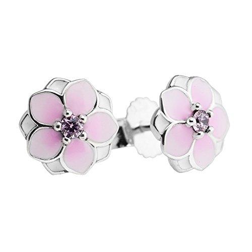 PANDOCCI 2017 Colección Primavera 925 magnolia bloom plata esterlina Pendientes de joyería de las mujeres