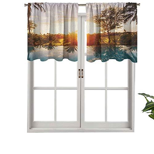 Hiiiman Cenefa de cortina con aislamiento térmico para decoración del hogar, con piscina en Sunset Tropics Palms Private Villa, juego de 2, 42 x 36 pulgadas para ventana del sótano