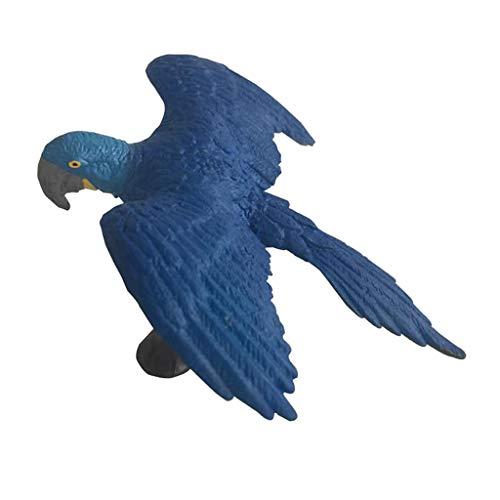 Sharplace Animaux Réaliste Sculptures Jouet Figurine Ornement Micro Paysage Statues Cadeau - Ara Bleu