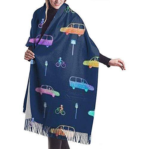 Cathycathy Auto Fahrrad und Ampel Stadt Bild dunkelblau Schal wickeln Winter warme Schal Cape große weiche Schal wickeln
