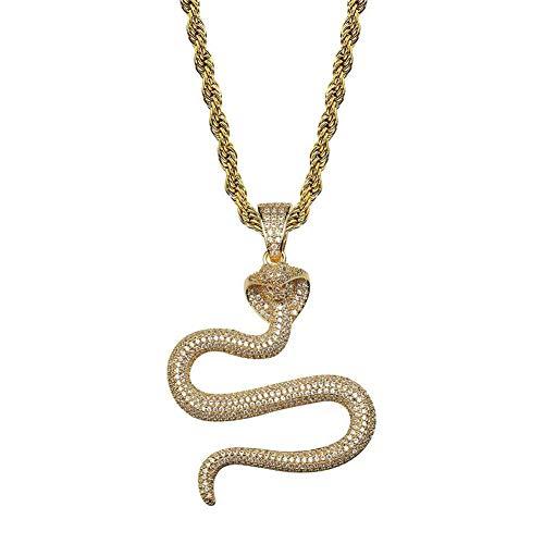 Zidao Tier Hip Hop-Kobra-Schlange-Hängende Halsketten-Gold-Silber-Farben-Mikro Pflaster Kubikzircon Charm-Schmuck Für Männer Geschenk Der Frauen,Gold