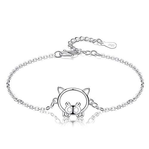 NOLOGO Plata de Ley 925 Cerdo año Pulsera S925 Nacimiento año joyería niña Estudiante año Cerdo Partido Jewelr (Color : Piggy Bracelet)