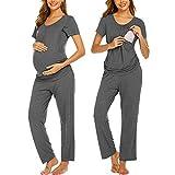 Ekouaer Nursing Pajamas Sleepwear Set Breastfeeding Wear Scoop Neck Tops Long Pants Pajamas Suit Hospital PJ Set Grey XL